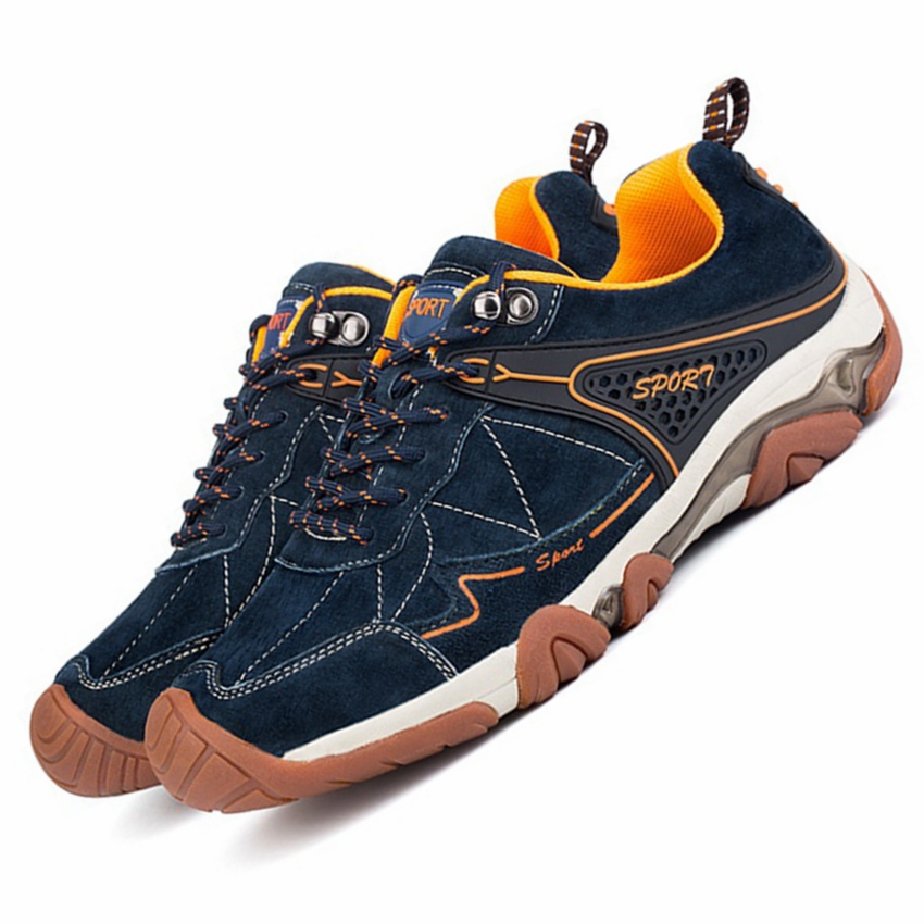 GOGORUNS genuine leather breathable men hiking shoes outdoor sport camping hiking sneakers men travel walking shoes men