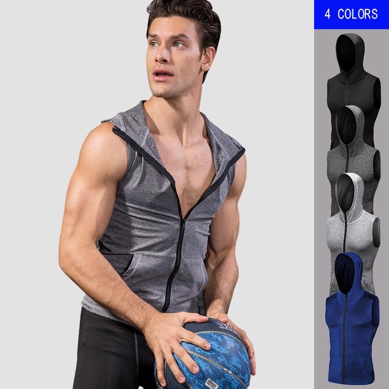 YEL High Elastic Mens Jacket Hoodie Quick Dry Sleeveless Running Jacket Sport Vest Gym Fitness Tight Clothing Mens Sportswear
