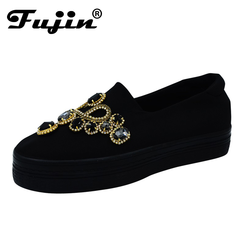 Fujin New Women Pumps Pumps Shoes Black Crystal Rhinestone Ladies Shoes Footwears zapato mujer Rubber