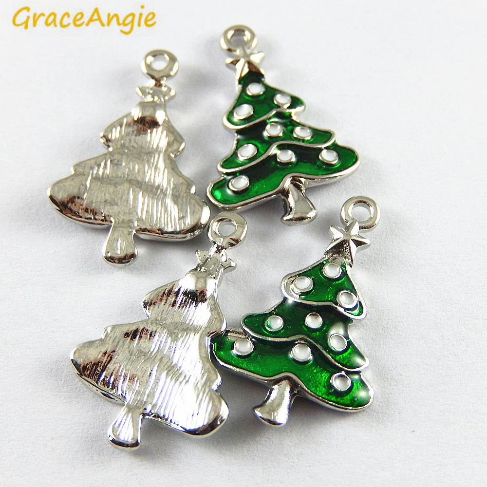 FREE P/&P! 20 Mixed Silver Tone Christmas Tree Charm Pendants