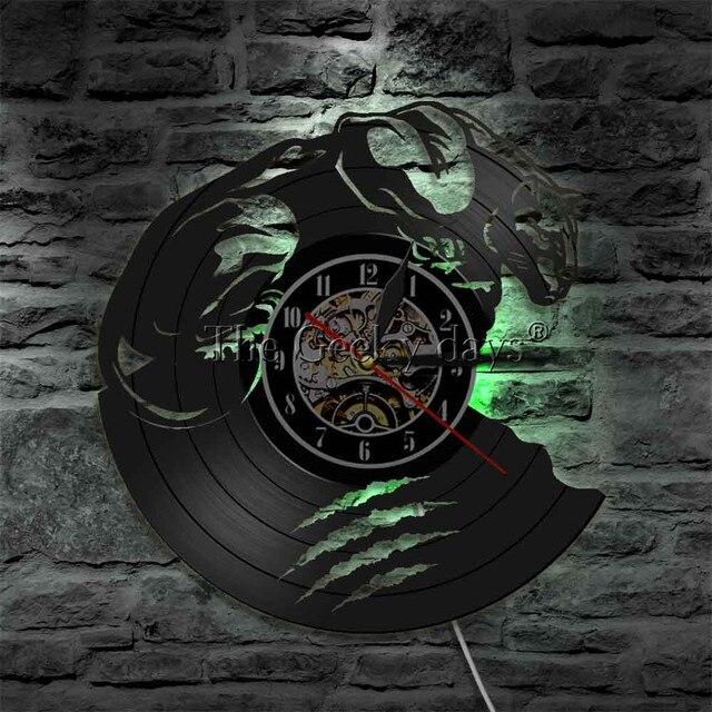 Horloge Décoration Hip Hop Vinyle bête sauvage LED