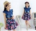 Девочки-подростки Платья Джинсовая Цветочный Летнее Платье девушки 4-10 лет девочки платье малышей одежда дети танцуют платье vestidos infantis