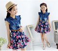 Teenage Girls Dresses Denim Floral Summer Dress girls 4-10 years girls dress toddler clothes kids dance dress vestidos infantis