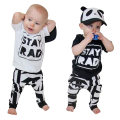 Baby Fashion Clothing Infant Short Sleeve Letter Print T-shirt Tops + Pants Outfit Kids Cotton Clothes Set