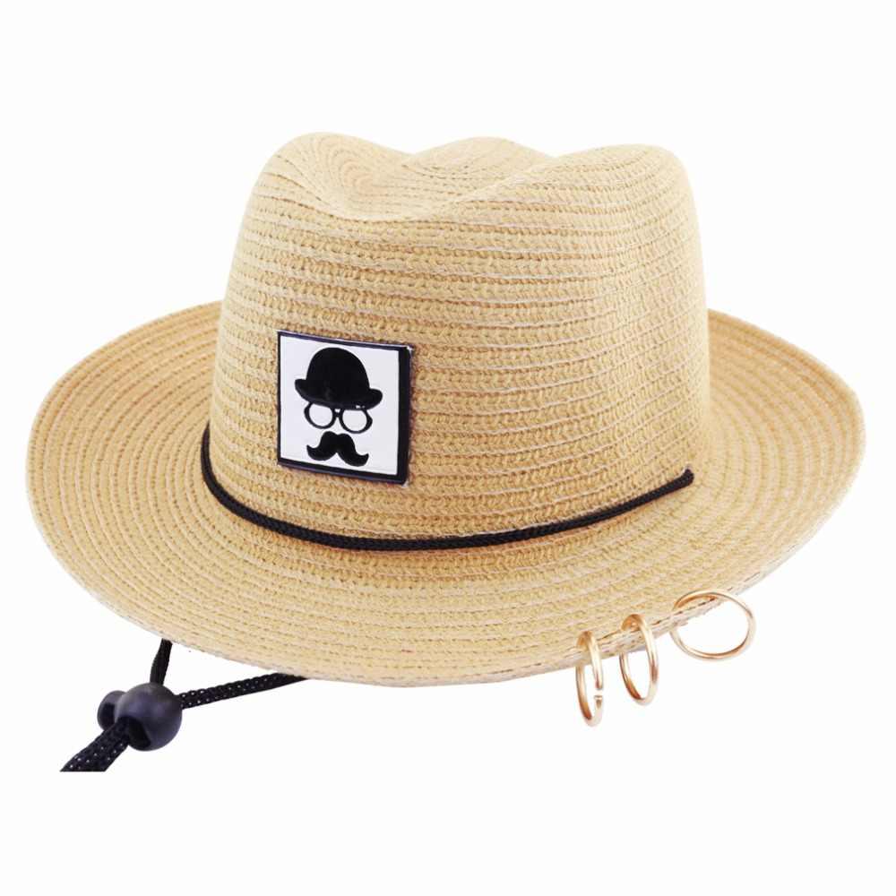 dd6ca1e8f68 ... LNPBD 2018 Hot Children s Cowboy Summer Sun Beach Straw Hat Wide Brim  UPF 50 Protection Anti ...