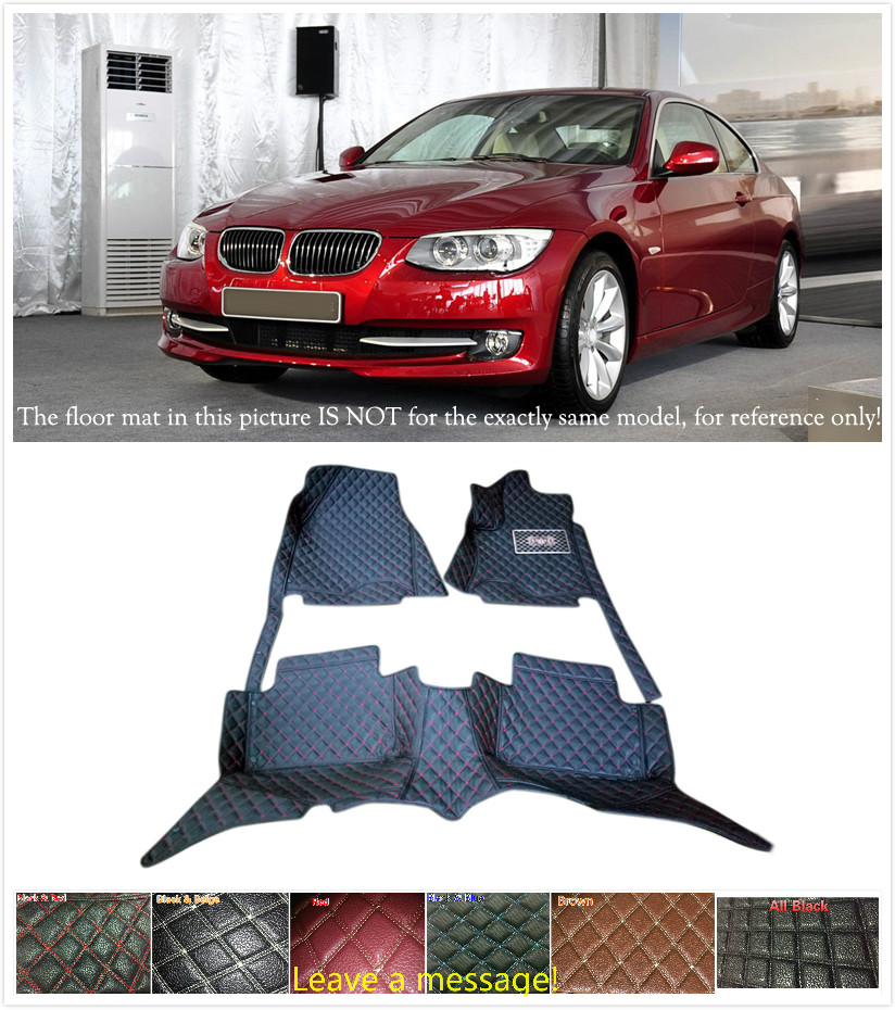 5 Seats Customs Car Floor Mat Leather Waterproof Front & Rear Floor Mats Carpets 1 set for BMW 3 series E90 2010 2011 2012 customs 5 seats 1 set car floor mat leather waterproof front