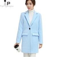Длинное шерстяное пальто Для женщин куртка Осень корейской розовый Теплый из искусственной шерсти Куртка Верхняя одежда Для женщин модные ...