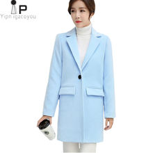 Long Woolen Coat Women Jacket Autumn Korean Pink Warm Faux Wool Jacket Outwear Women fashion Elegant Overcoat Female Winter Coat(China)