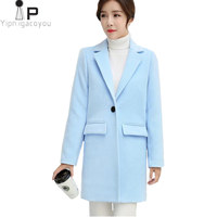 Long Woolen Coat Women Jacket Autumn Korean Pink Warm Faux Wool Jacket Outwear Women fashion Elegant Overcoat Female Winter Coat