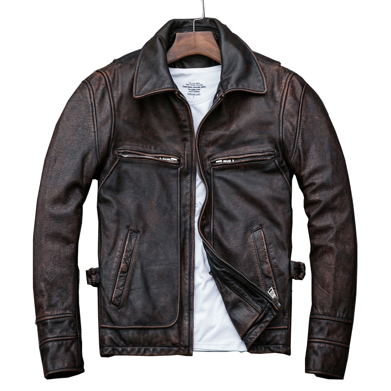 Free Shipping,Asian Plus Size Mens Genuine Leather Jacket,vintage Brown Casual Cowhide Coat,Brand New Slim Motor Jackets.sales.
