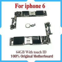 64GB original motherboard for iPhone 6 4.7inch with fingerprint with Touch ID unlock IOS system logic board free shipping