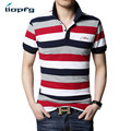 2017 Summer New Men's Stripes POLO Large Size High-Quality Fabric Men's Short-Sleeved Red Striped Breathable POLO 4XL-5XL  MK661