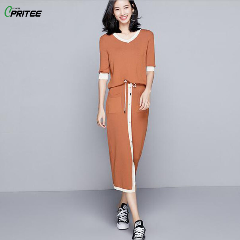 Knitted Blouse Top And Skirt Office Lady Sets Of Clothes For Women Drawstring Spring Sweatshirt For Women Two Piece Set Summer