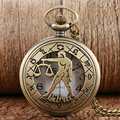 Bronze Cool Quartz Pocket Watch Libra Zodiac12 Constellation Astrology Half Hunter Women Men Necklace Birthday Christmas Gift