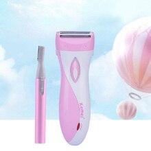 Водонепроницаемая электрическая Женская бритва, женский эпилятор, для удаления волос, бритва, триммер+ мини-триммер для бровей, бритва, шейпер