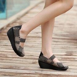 Women Casual Shoes 2018 Summer Breathable Handmade Women Woven Shoes Fashion Comfortable LightWeight Wovening Women Shoes EE-14