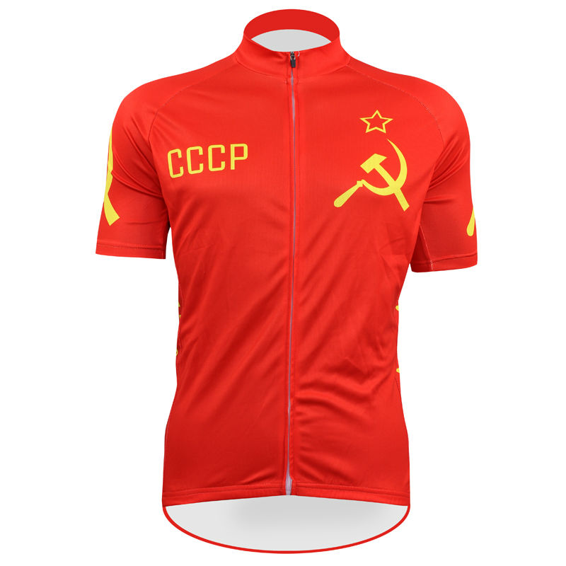 ФОТО Stylish red Communist hammer and sickle flag logo Men's 2017 Sleeve Cycling Jersey Size XS to 5XL Personalized Bike Shirt