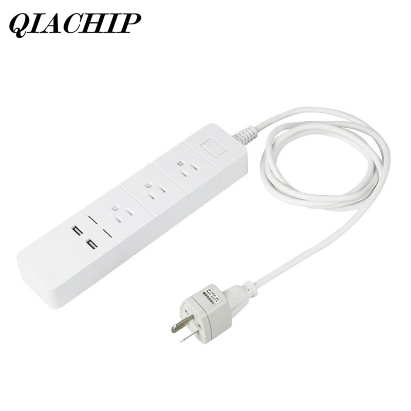 цена на QIACHIP WiFi Smart Extension Socket Smart Plug w/ 3 AC Outlets and 2 USB Charger Work with Amazon Alexa App Remote Control DS25