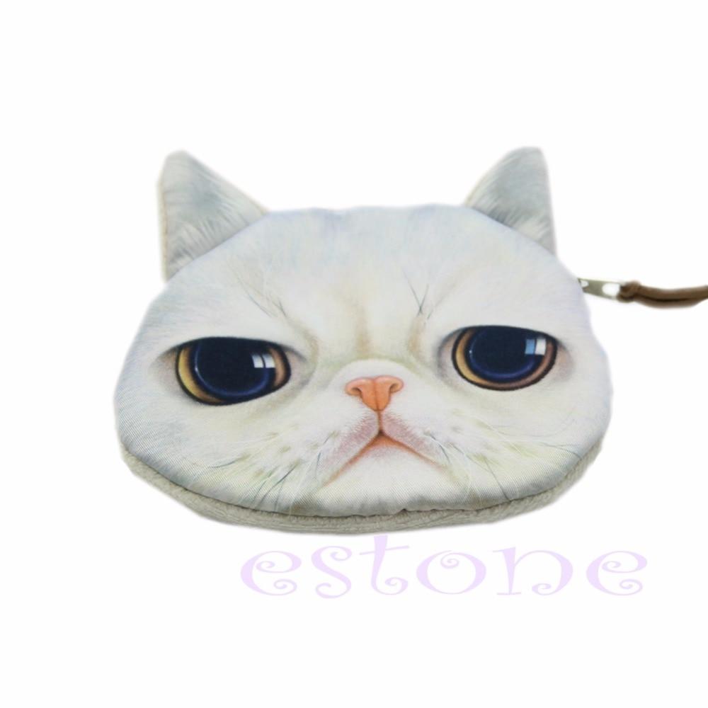 THINKTHENDO Children Cute Mini Cat Face Zipper Case Coin Purse Wallet Makeup Bag Pouch Kids vsen hot noctilucent cat zipper coin case purse wallet pouch handbag bag