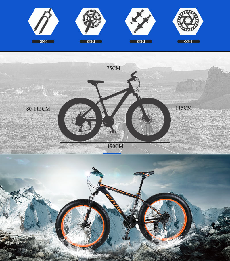 "HTB131GeXzzuK1Rjy0Fpq6yEpFXak wolf's fang Mountain bike Aluminum Bicycles 26 inches 21/24 speed 26x4.0"" Double disc brakes Fat bike road bike bicycle"