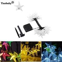Tanbaby 6 메터 30 LEDs 태양 문자열 조명 바다 스타 휴일 야외 방수 요정 빛 문자열 크리스마스 파티 장식