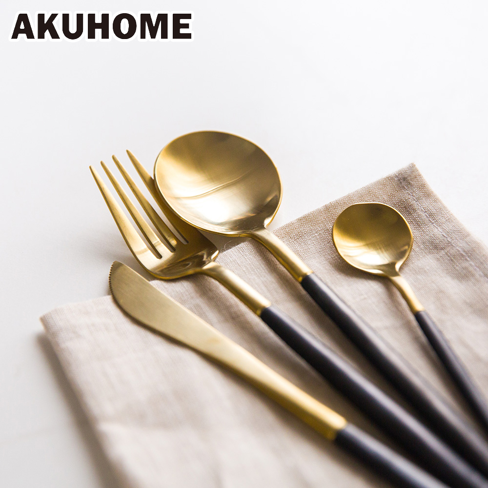 7 Colors Stainless <font><b>Steel</b></font> Cutlery Set Noble Fork Knife Dessert Dinnerware Tableware Gold Silver Black Coffee