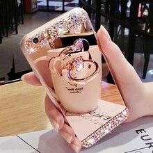 Diamond Glitter Mirror Case for Galaxy S5 S8 S6 S7 edge plus A3 A5 A7 J5 J7 J3 C9Pro note8 Flash Cute 3D Bear Cover 360 Ring Fun