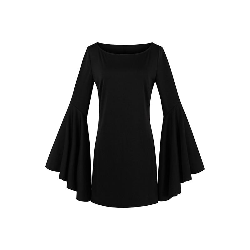 Sisjuly Women Mini Dress Halloween Black Women Flare Sleeve Autumn Casual Dress Goth Fashion Witch Vampire Gothics Mini Dress