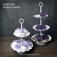 European Iron 2 & 3 Tier Fruits Cakes Desserts Plate Stand for Wedding Party Cakecups White Color #1500210