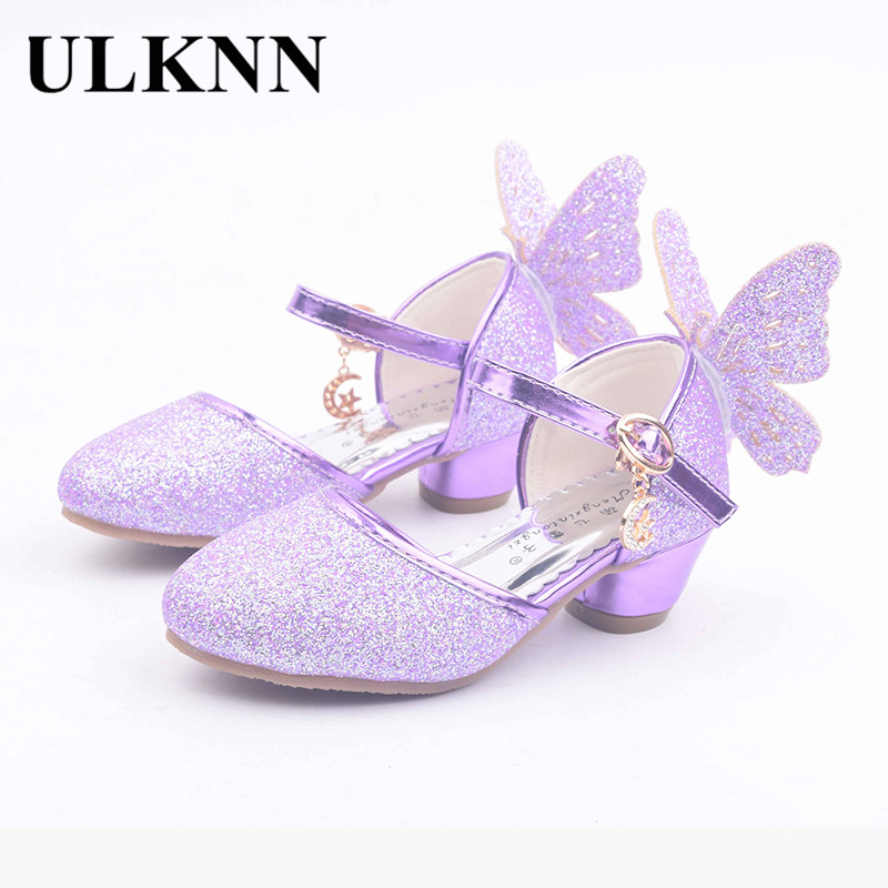 ULKNN Summer Children Sandals Kids PU Leather Buckle Strap Princess Shoes For Girls Party Glitter Butterfly High heel Sandals
