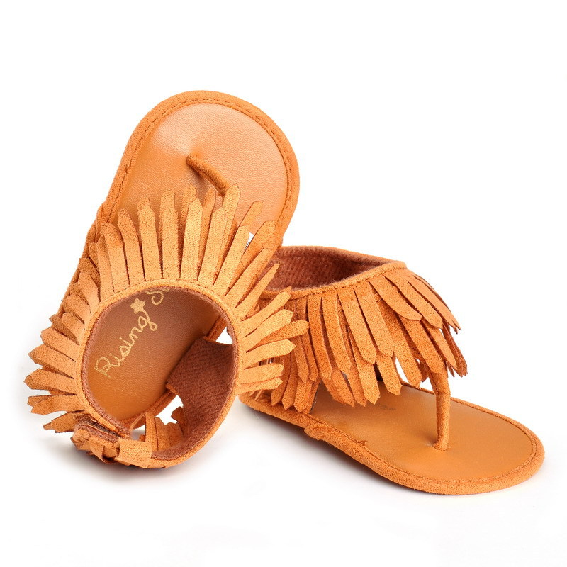 Hot Sell 2018 New fashion tassel summer baby sandals baby moccasins shoes soft sole pu leather child girls boys sandals