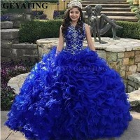 0a4fbdd1072bc Sweet 16 Birthday Royal Blue Ball Gown Quinceanera Dresses 2019 Vestidos De  15 Anos Crystal Beaded