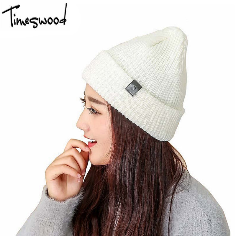 Fall Fashion Bonnet Casual Solid Winter Wool Knitted Hat For Women Skullies Warm Korean Hiphop Beanie Gorros De Lana winter women beanie curl all match crochet knitted hiphop hats warm ski hat baggy cap femme en laine homme gorros de lana 62
