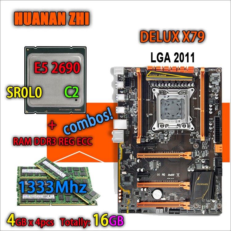 HUANAN ZHI Deluxe version X79 carte mère de jeu LGA 2011 ATX combos E5 2690 C2 SR0L0 4x4G 1333 MHz 16 gb DDR3 RECC Mémoire