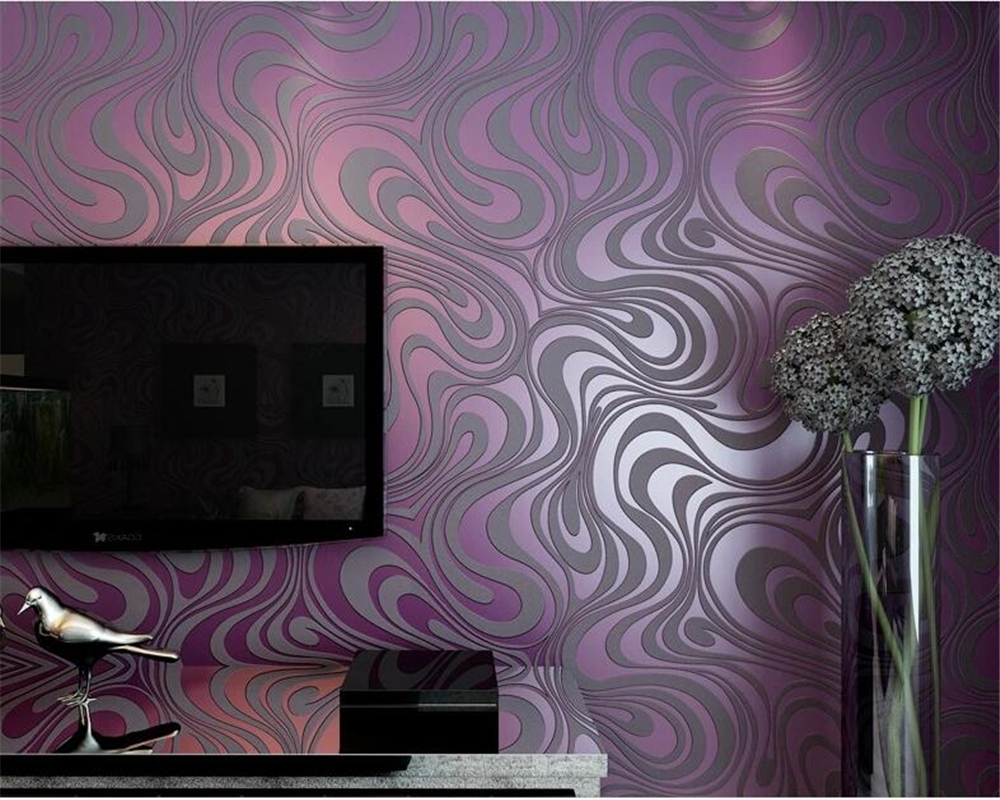 Купить с кэшбэком papel de parede 3D Wall paper Individuality Abstract Striped Wallpaper KTV Bar Gold Purple Black Wallpaper roll Beibehang