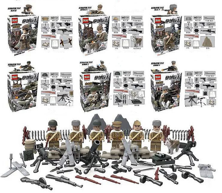 Oenux New World War 2 Series Military Figures Building Block Set US British Soviet Army Soldier DIY Bricks Toys For Kids Gift building soviet citizens with american tools