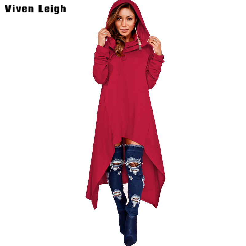Viven Leigh Hooded Hoody Irregular Long Sweatshirts 2017 Winter Coat bts Sleeve Big Size Streatwear Women Hoodies Sweatshirts