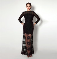 New Black Long Sleeves Evening Dress Sheath Lace Applique Backless Handmade Formal Party Gown Plus Size Vestidos Largos