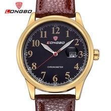 LONGBO Lujo Correa de Cuero Relojes de Marca de Deportes de Los Hombres Resistente Al Agua Reloj Masculino de Negocio Luminosa números arábigos reloj de 80206