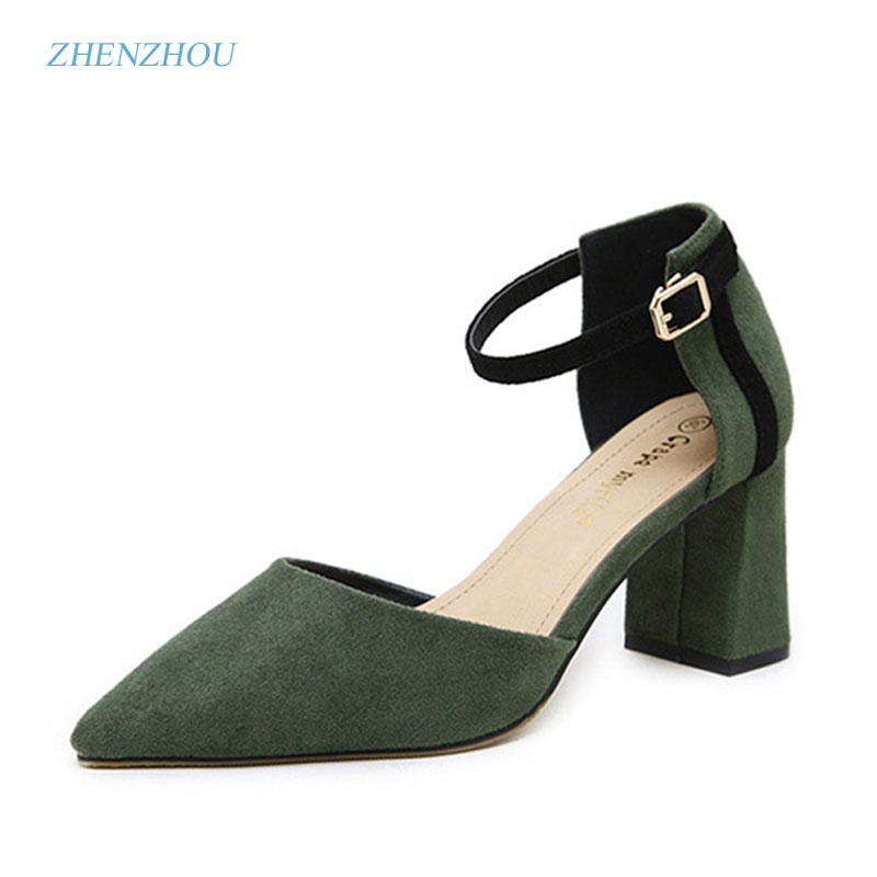 zhen zhou 2017 spring and autumn women's new fashion trend leadership Han edition Side hollow high heel thick heel A word buckle teresian leadership a historical analysis