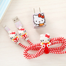 Girls Favorite Cartoon USB Cable Earphone Protector Set with Winder stickers Spiral Cord protector For iphone 5 6 6s