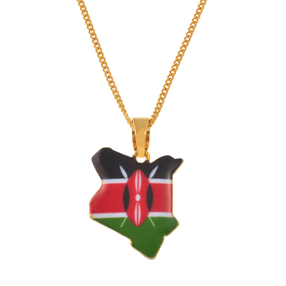 Map of Kenya Flag Enamel Pendant Necklaces Jewellery Gold Color African Country Map Jewelry kenyans Map Gift