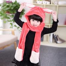 SH069 Cute Rabbit Ear Winter Scarf Hat Glove Sets for Kids Boys Girls Warm Fleece Winter Scarf Child Fancy Riding Trapper Cap