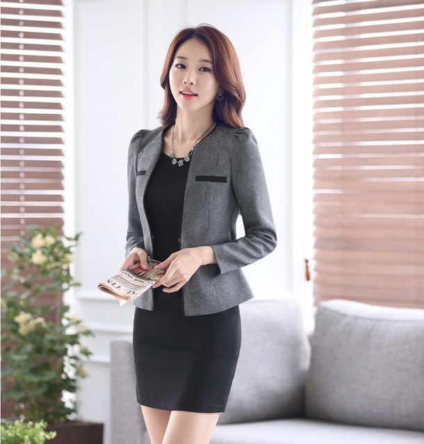 cddbc84b21a20 Formal Ladies Dress Suits for Women Business Suits Gray Blazer Sets Beauty  Salon Office Uniform Styles OL Work Outfit