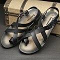 2015 de La Moda de moda de verano hombres sandalias de cuero sandalias Romanas zapatos hombres transpirable zapatos de cuero de los hombres Sandalias casuales, EU38-43