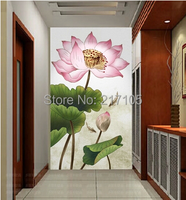 Free shipping large modern lotus paintings Porch corridor TV wall wallpaper customized home personalized seamless integration of the abstract paintings lotus wallpaper 1x3m
