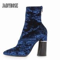 Jady Rose Blue Velvet Women Winter Warm Boots Pointed Toe Chunky High Heels Back Zipper Female
