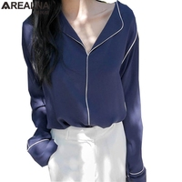 2017 New Spring Vintage Women Shirts Loose Long Sleeve V Neck Sexy French Lazy Pajamas Style