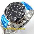 Parnis 40mm Black Dial Cerâmica Moldura Rotativa Vidro de Safira Homens Automáticos Movimento do Relógio