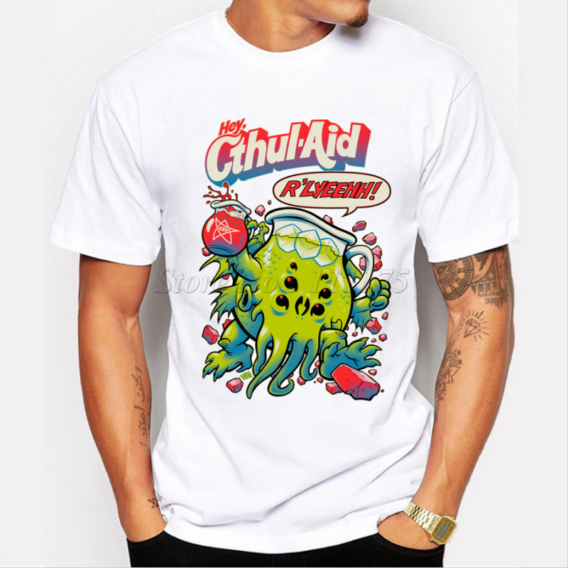 New Arrival Men's Fashion Cute Cthulhu Printed T Shirt Cool Tops Short Sleeve Hipster Tees